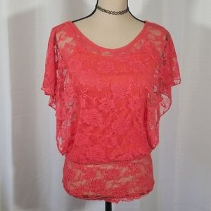 A'gaci laced red top. Size S/M